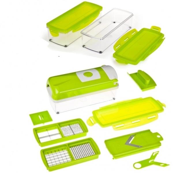 Genius - Nicer Dicer Plus Kompakt 13-tlg. grün Gemüseschneider + Behälter Set