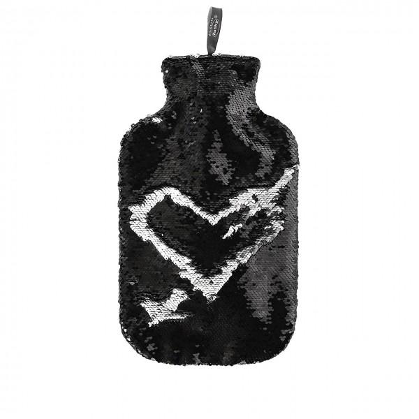 Wärmflasche Bettflasche 2L Wendepailletten-Bezug Silber Schwarz Fashy 67333-20
