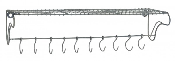 Ib Laursen - Wand- Regal- Ablage mit 10 Haken 57051-18 Metall 16cm x 60cm