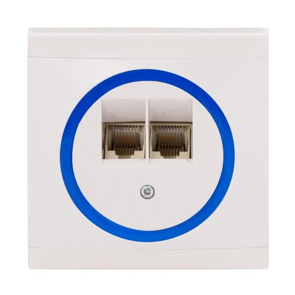 REV Ascoli weiß/blau ISDN-Dose Netzwerk-Dose Dose inkl. Rahmen 928204