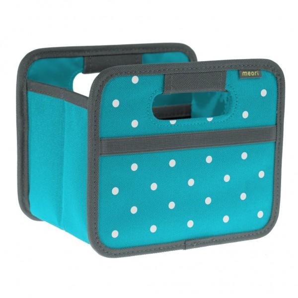 Meori - Faltbox Mini Aufbewahrungsbox Klappbox Azur Blau Punkte A100303