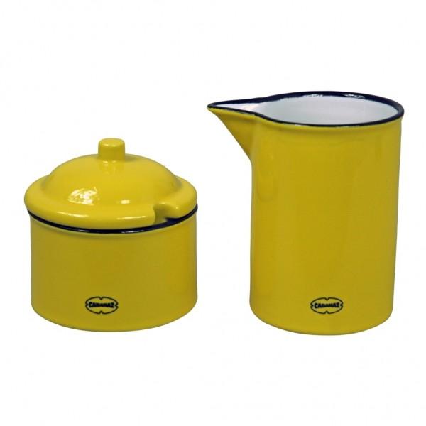 Cabanaz - Milch Zucker Set Zuckerdose Milchkännchen gelb 1201624