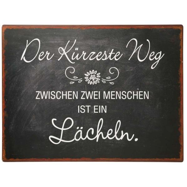 """Laursen - Blechschild """"kürzeste Weg ..."""" Wandschild Metallschild Shabby 8884-00"""