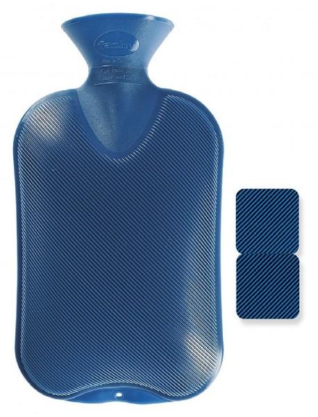 Fashy - Wärmflasche Kunststoff Blau Doppellamelle (2 gleiche Seiten) Bettflasche