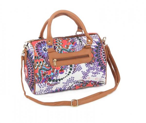 Antonio Umhängetasche Handtasche Lila Rot Weiß Muster Bag Schultertasche Tasche