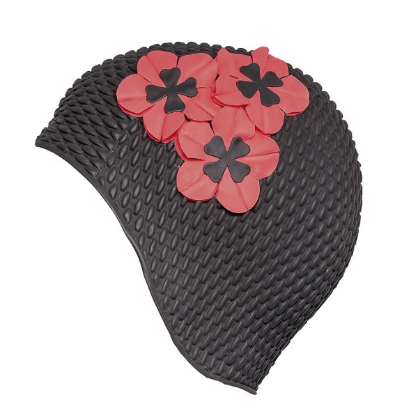 Fashy - Badehaube 3 Blüten Schwarz Rot Gummi Luftgefüllt Badekappe 3119-06