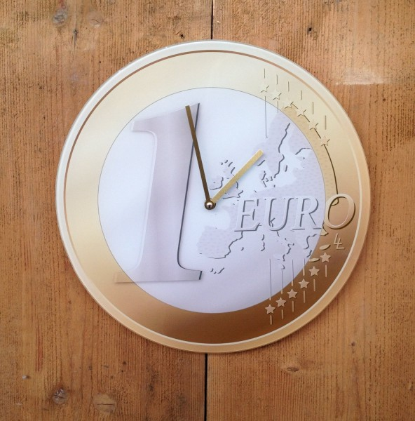 """Out of the blue - Wanduhr """"1 €"""" Ø 38cm (79/3039) 1 Euro Uhr Bürouhr Glas Quarz"""