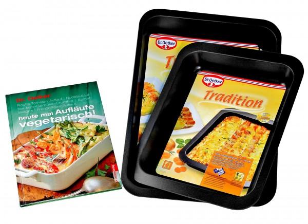 Dr. Oetker - Tradition 2er Set Brat- Auflauf- Lasagne- Form mit Kochbuch (1400)