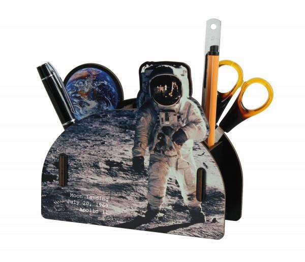 Werkhaus - Stiftebox Mondlandung (PP 2295) Stifte- Halter Becher Holz Astronaut