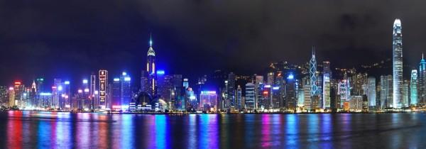 WOW Auswahl Glasbild 95x33cm Wandbild Bild Echtglasbild Skyline Hongkong 12345