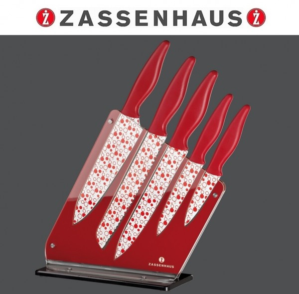 Zassenhaus - Messerblock Easy Cut Acryl bestückt rot weiß 071320