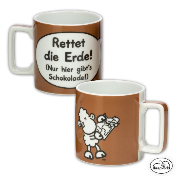 "Sheepworld - Tasse Wortheld ""Erde"" Braun 0,45l Nr. 18 Kaffeetasse (42477)"