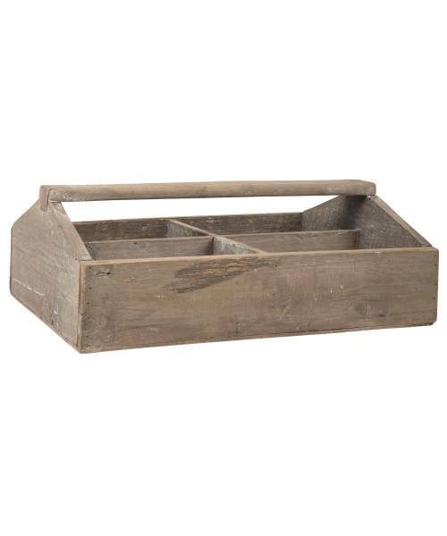 Ib Laursen - Holzkorb Holzkiste mit 4 Fächer und Henkel 5245-14 Korb Kiste Holz