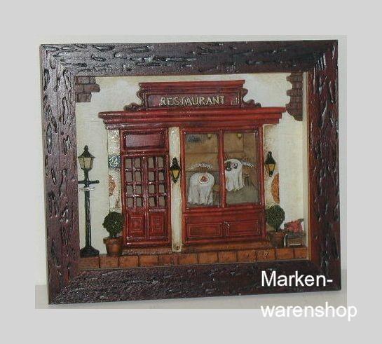Nitsche - Wandbild, Küchendeko, Collage Restaurant (Weinregal), 22567