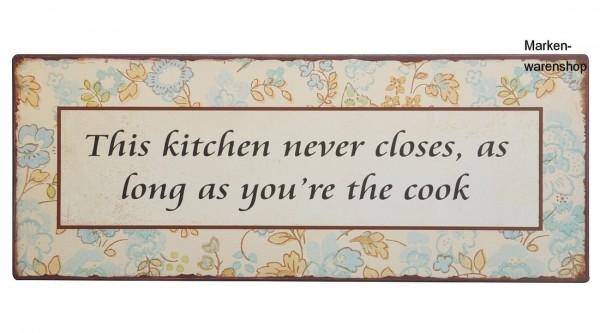 """Laursen - Blechschild """"This kitchen never ..."""" Wandschild Metallschild Schild"""