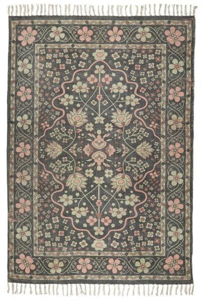 Teppich Läufer Wohnraum 120x180cm Baumwolle Schwarz/Rosa Vintage Laursen 6437-00