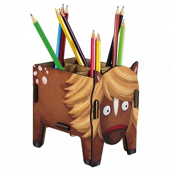 Werkhaus - Stiftebox Pony Pferd Stifte Halter Becher Holz WE7115