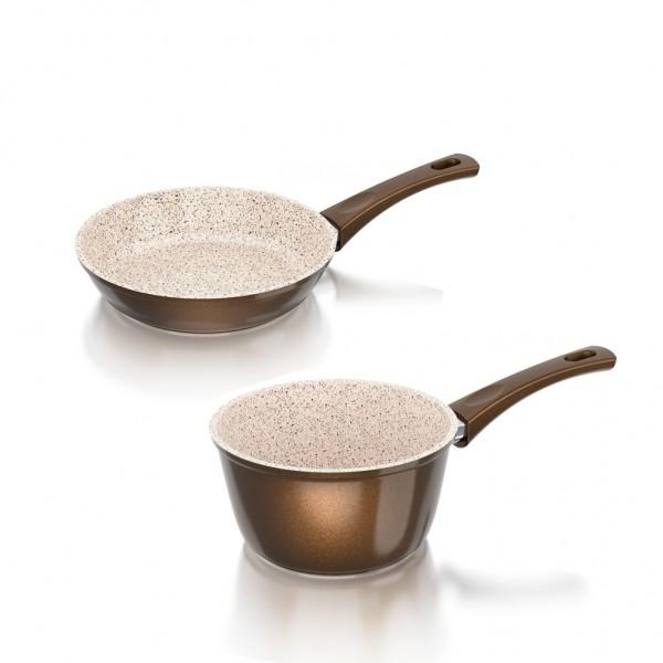 Genius - Cerafit Granit Pfannen-Topf Set Stielkasserolle Ø18 Keramikpfanne Ø20