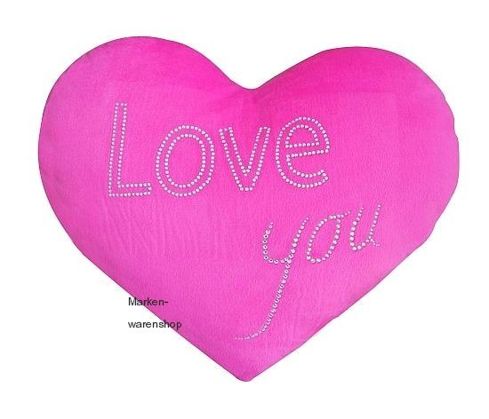 Tussi on Tour - Herzkissen Love You (10425500) Kissen Dekokissen Herz Pink