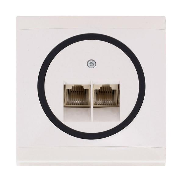 REV Ascoli weiß/schwarz ISDN-Dose Netzwerk-Dose Dose inkl. Rahmen 928204