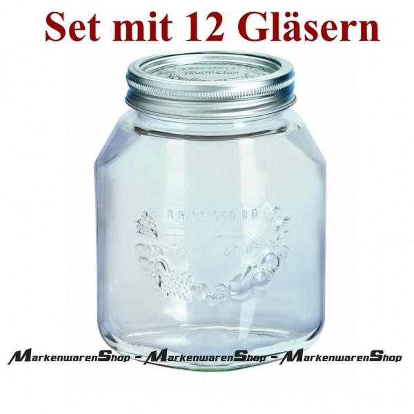 Leifheit 36303 Einkochglas 1,0 Liter - 12 Stück, Einmachgläser