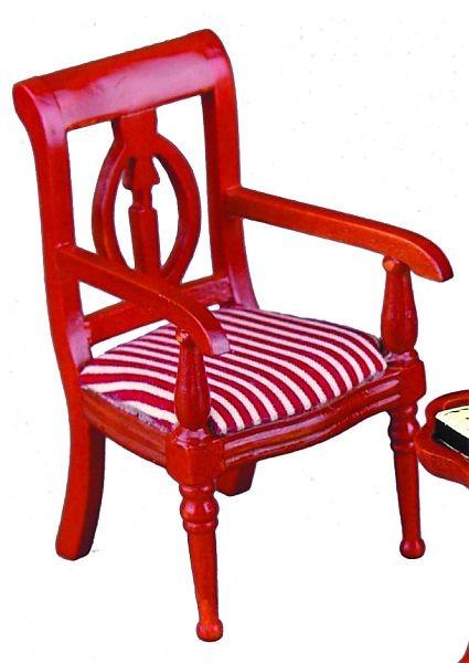 Reutter Miniaturen - Stuhl Klassik mit Armlehne rot-weiß 1.750/3 für Puppenstube