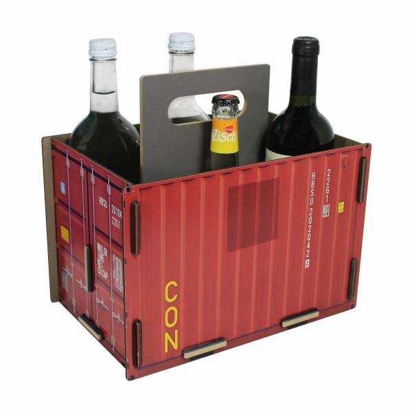 "Werkhaus - Sixpack ""Container"" Rot Flaschenträger Flaschenkorb Holz (CO1502)"
