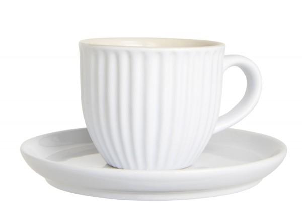 Laursen - Kleine Kaffeetasse 135ml Mynte Weiß 2037-11 Espressotasse Unterteller