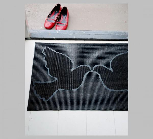 Cabanaz - Türmatte Vögel Taube Noppen Schwarz Fußmatte Schuhabstreifer 1001970