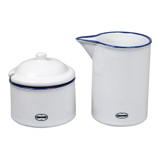 Cabanaz - Milch Zucker Set Zuckerdose Milchkännchen weiß 1201622