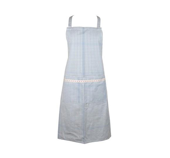 Ib Laursen - Küchenschürze blau weiß kariert (6496-26) Schürze Baumwollschürze