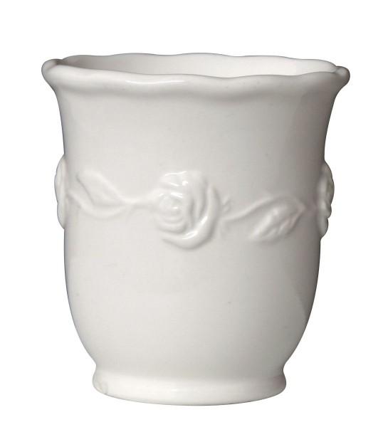 Ib Laursen - Zahnputzbecher Weiß Rosendekor Keramik (1960-11) Becher
