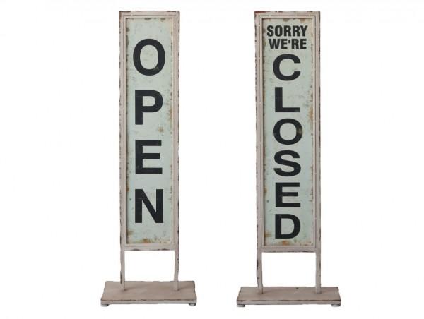 "Schild auf Fuß ""open/close"" Metall 31742-00 Chic Antique"