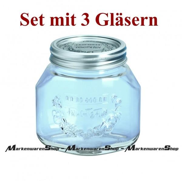 Leifheit 36203 Einkochglas 0,75 Liter - 3 Stück , Einmachgläser