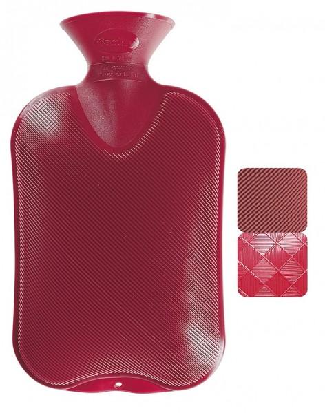 Fashy - Wärmflasche Kunststoff Rot Halblamelle (2 verschiedene Seiten, 6440-42)