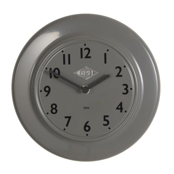 "Laursen - Wanduhr ""CPH 1936"" Grau Ø 24cm (0700-18) Retro Uhr Küchenuhr Bürouhr"