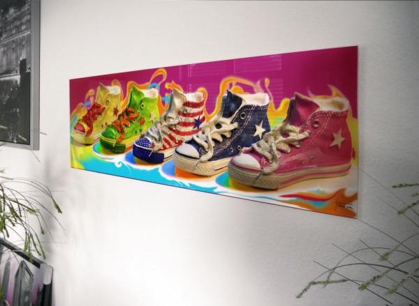 "Glasbild ""Chuck`s"" 95x33cm, Glasbilder Wandbild Bild"