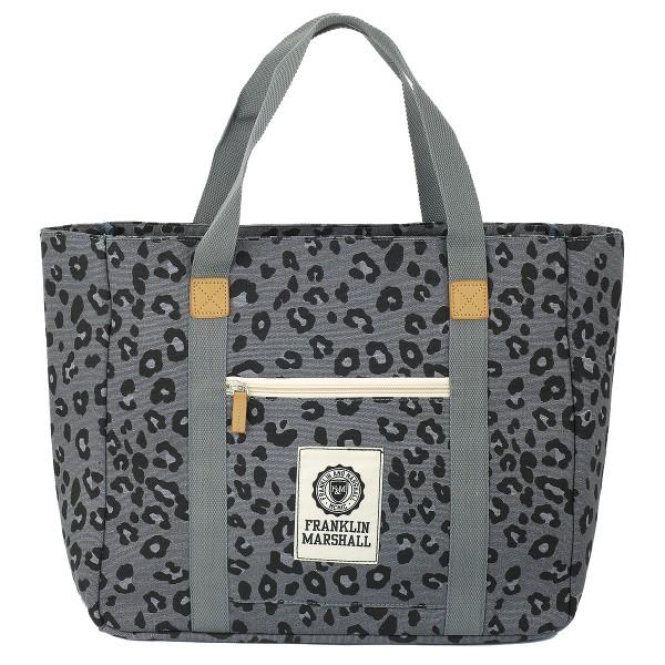 Franklin and Marshall - Shopper Leopard Muster Grau Umhängetasche Einkaufstasche
