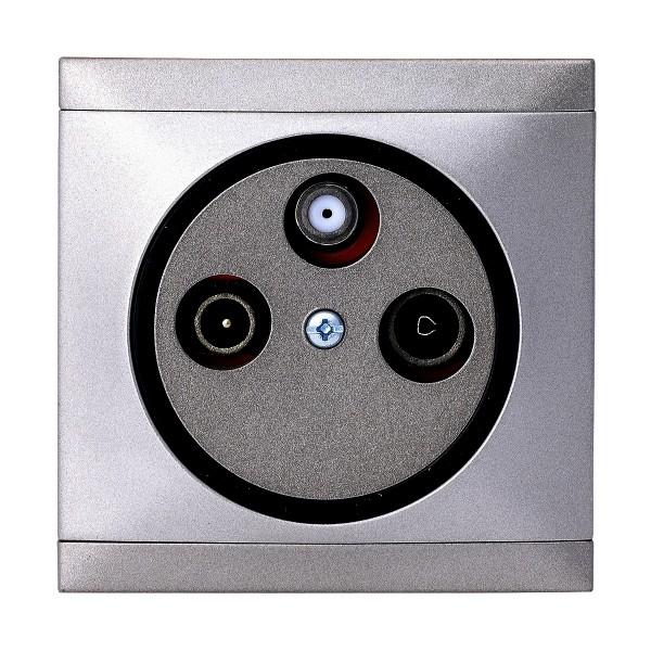 REV Ascoli Titan Silber Antennen-Dose Sat-Dose Dose inkl. Rahmen 922208