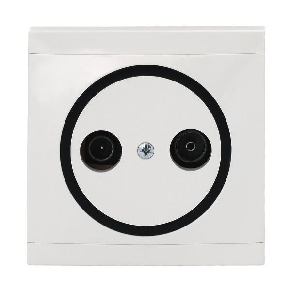 REV Ascoli weiß/schwarz Antennen-Dose TV/RF Dose inkl. Rahmen 922104