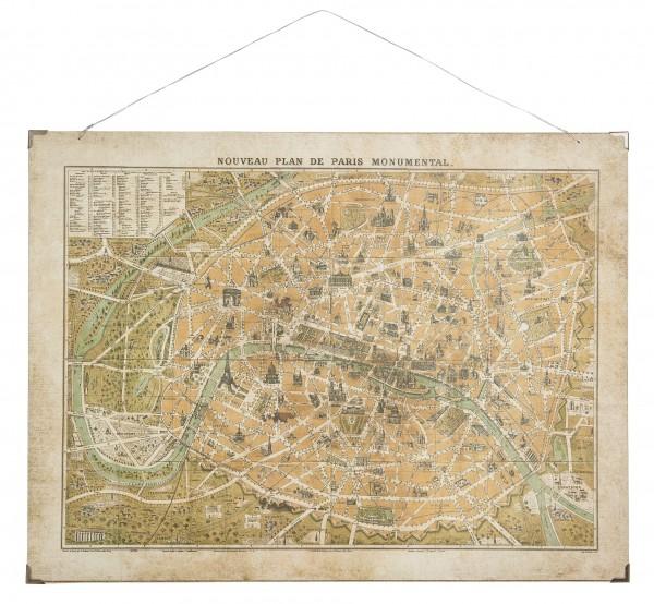 Laursen - Wandbild Stadt- Karte Plan Paris Papier Holzdruck Vintage Bild 8247-00