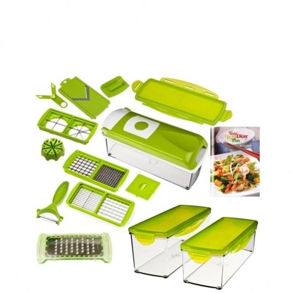 Genius - Nicer Dicer Plus Set 17-tlg. Gemüseschneider grün+ Zusatz Behälter Set