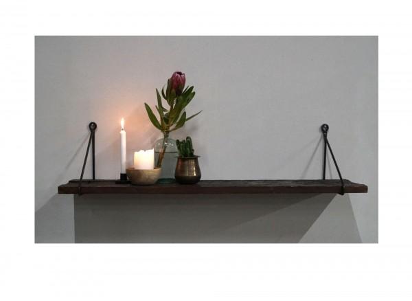 Trademark Wandregal mit rustikaler Holzplatte und schwarzem Eisenhalter L 110cm