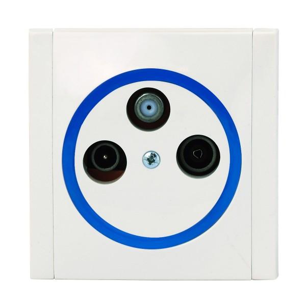 REV Ascoli weiß/blau Antennen-Dose Sat-Dose Dose inkl. Rahmen 922204