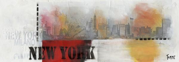 WOW Auswahl Glasbild 95x33cm Glasbild Wandbild Bild Echtglasbild New York 11223-