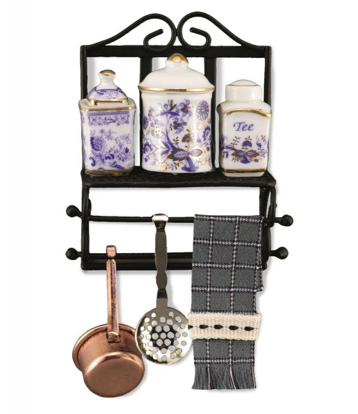 Reutter Miniaturen - Küchenregal mit Deko (1.768/7) Puppenstube Küche Regal