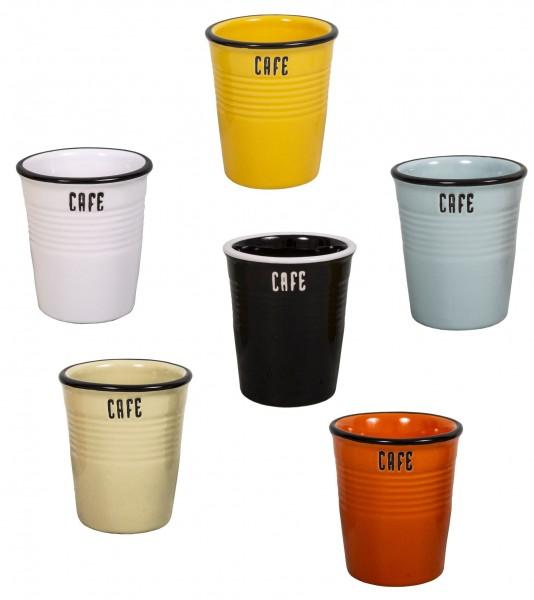 6er Set Becher Kaffeebecher Tasse Kaffeetasse CAFE 120ml Antic Line SEB16768