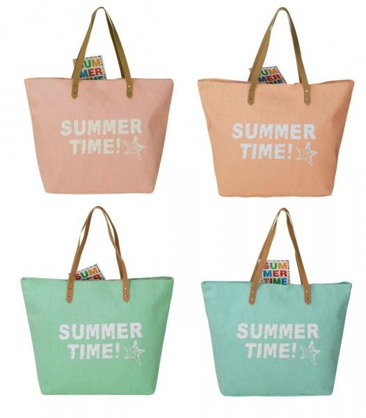 Farbauswahl - Strandtasche Summer Time Rosa Blau Grün Apricot Badetasche Tasche