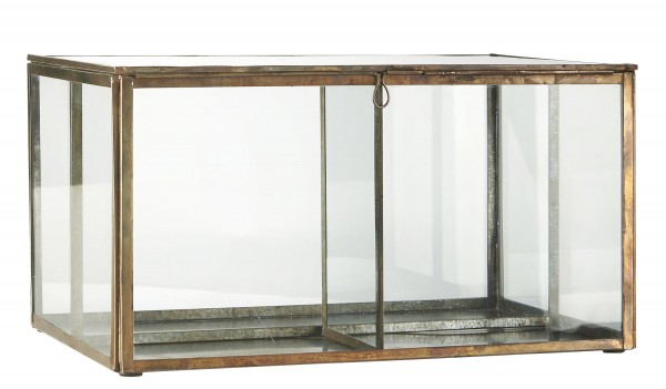 Glasbox Utensilienbox Glas Schachtel Schatulle Dose Messing Gold Laursen 0876-17