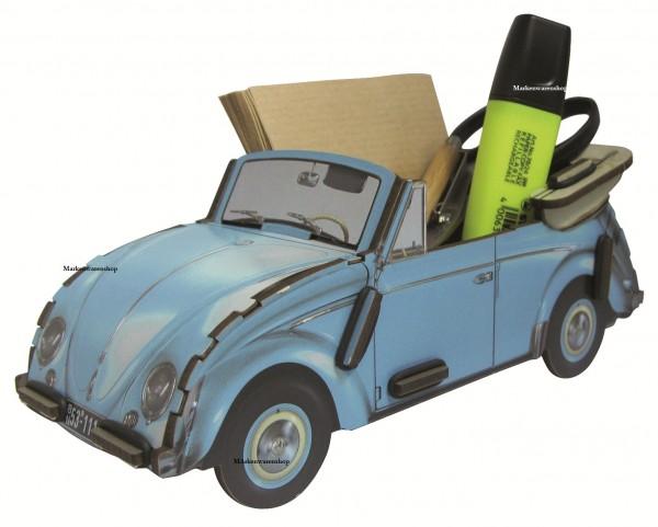 Werkhaus - Zettelbox Stiftebox VW Cabriolet Käfer WE2041 Stifteköcher silberblau
